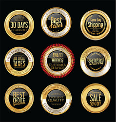 Luxury golden retro badges collection 10 vector
