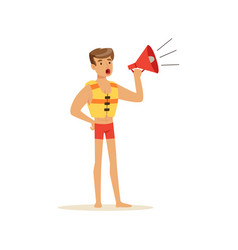 male lifeguard in red shorts shouting by megaphone vector image