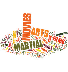 Martial arts movies text background word cloud vector