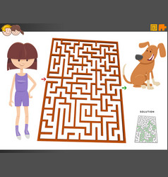 Maze game with cartoon girl and puppy dog vector