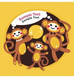 Monkey family with Euro vector image