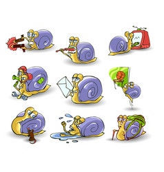 Mr snail on white background vector