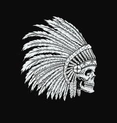 native indian skull in traditional headdress vector image