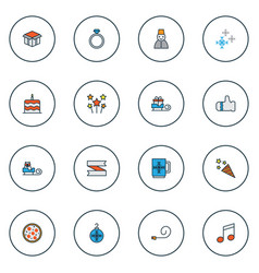 new icons colored line set with firecracker vector image