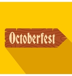 Oktoberfest road wooden sign flat icon vector