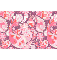 Pink paisley background traditional floral vector