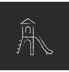 Playground with slide icon drawn in chalk vector image