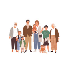 portrait big happy family with children mother vector image