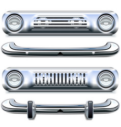 Retro chrome bumpers vector