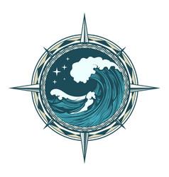 retro compass nautical emblem vector image