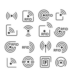 rfid icons set vector image