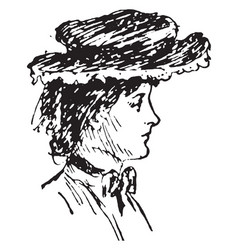 right profile of woman face vintage engraving vector image
