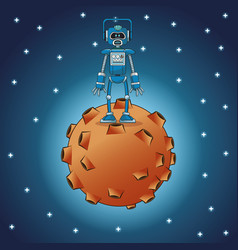 robot engineer moon space stars vector image