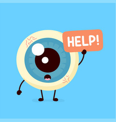 sad suffering sick cute human eyeball vector image