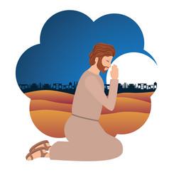 Saint joseph praying character vector