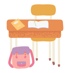 School desk with satchel bag and supplies vector