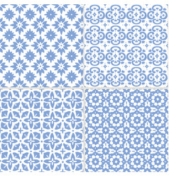 set hand drawn blue moroccan seamless patterns vector image