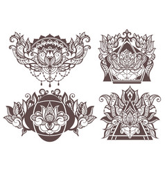 set of boho lotus vector image