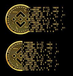 set of crypto currency binance flying golden vector image