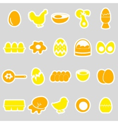 Set of egg theme yellow stickers eps10 vector