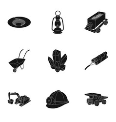Set of icons about the mine the extraction of vector