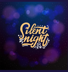 silent night typographic emblem logo vector image