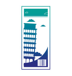 Silhouette leaning tower of pisa ticket vacation vector