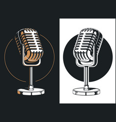 silhouette podcasting microphone recording isolate vector image