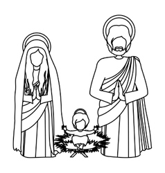 Silhouette sacred family with baby jesus kneel vector