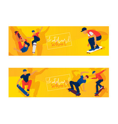 skateboard boys set banners vector image