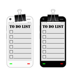 smartphone with to do list on a screen vector image