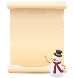 Snowman and parchment sign vector