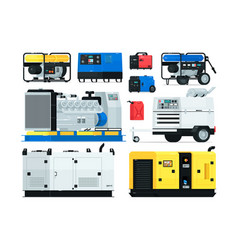 Stationary and portable diesel power generator set vector