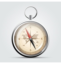 Steel compass with windrose and map vector