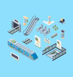 subway design elements isometric 3d vector image