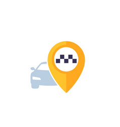 Taxi pointer and car logo vector