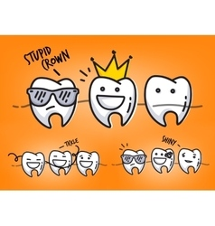 Teeth orange cartoons vector