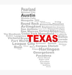 Texas state word cloud vector