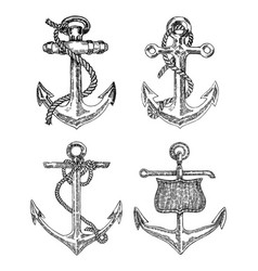 Vintage anchor graphic on white background hand vector