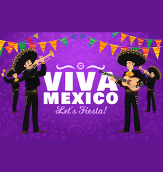 viva mexico fiesta mariachi musician characters vector image