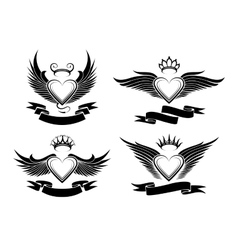 Winged Hearts Set vector image