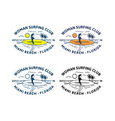 woman surfing club design logo badge t shirt vector image