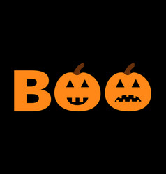 word boo text set with smiling sad pumpkin vector image