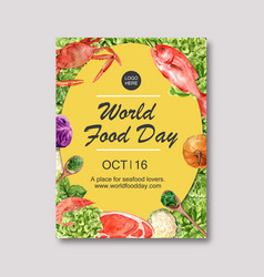 World food day poster design with crab fish meat vector