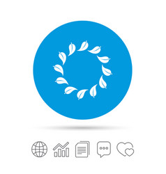 Wreath of leaves sign icon leaf circle symbol vector