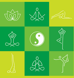 Yoga line art green icons vector