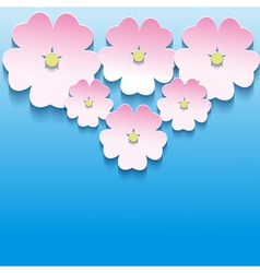 Abstract floral background with 3d flowers sakura vector image vector image