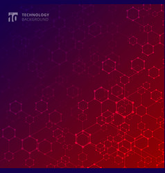 abstract geometric technology hexagon with dots vector image