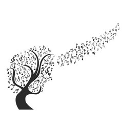 black music note tree vector image vector image