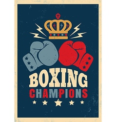 boxing retro poster new crown vector image vector image